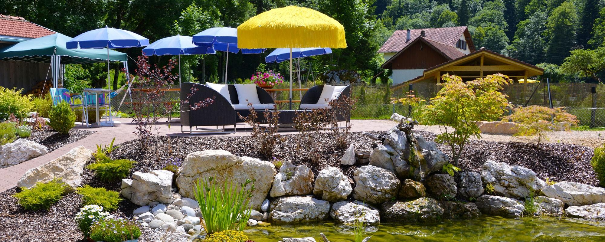 Maison Biaufond - étang et terrasse